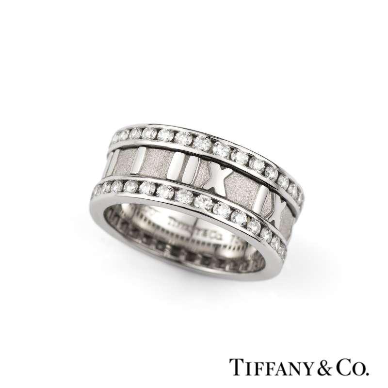 Tiffany & Co. 18k White Gold Diamond Atlas Ring 1.31ct G/VS